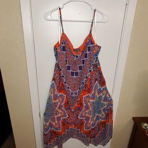 Red & Blue Spaghetti Strap Irregular Hem Dress